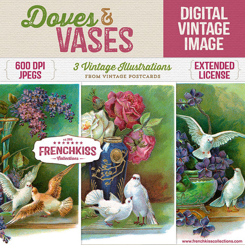 Doves and Vases digital images from vintage postcards at French Kiss Collections.