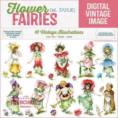 Dulk Flower Fairies digital vintage illustrations digital download. Extended license