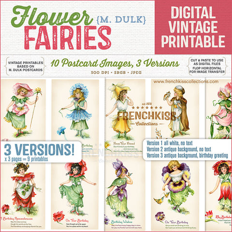 Dulk flower fairies digital vintage postcard printables.