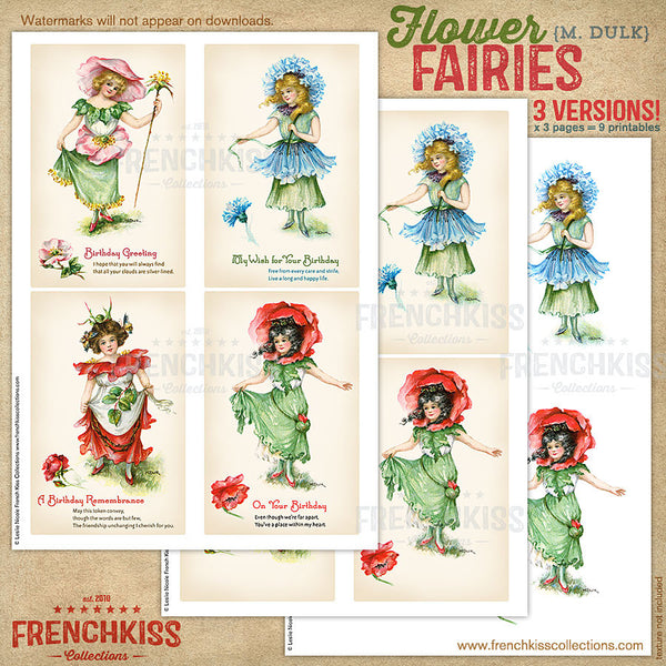 Dulk flower fairies digital vintage postcard printable versions 1.