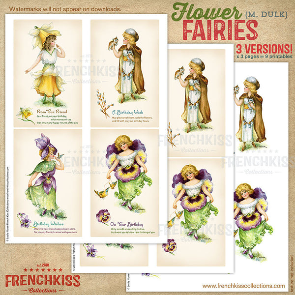 Dulk flower fairies digital vintage postcard printable versions 2.