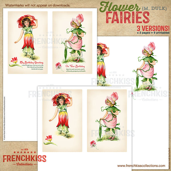 Dulk flower fairies digital vintage postcard printable versions 3.