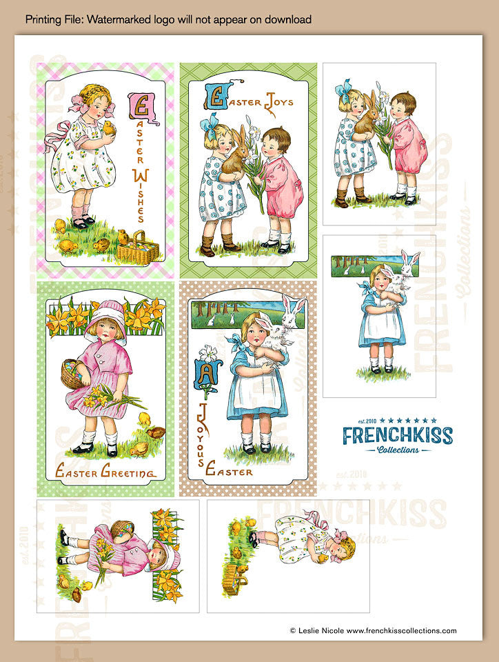 Easter fancies printable digital download gift tags french kiss easter fancies vintage inspired printable gift tag download sheet 1 negle Images