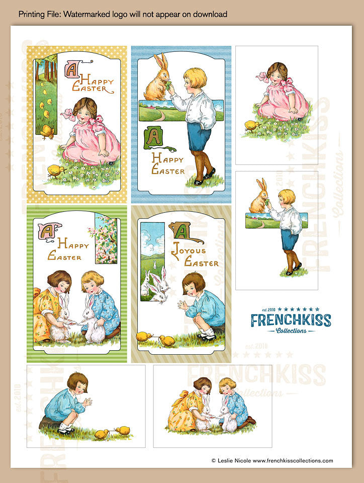 Easter fancies printable digital download gift tags french kiss easter fancies vintage inspired printable gift tag download sheet 2 negle Images
