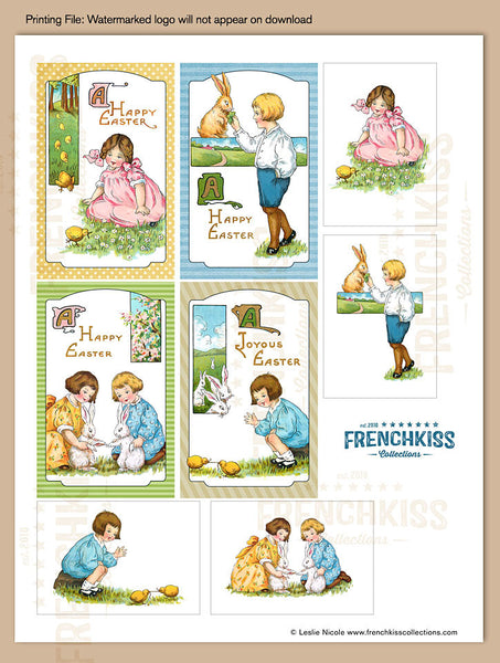 Easter Fancies vintage inspired printable gift tag download sheet 2