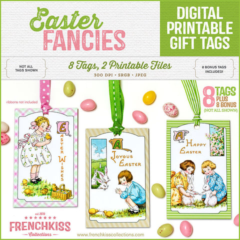 Easter Fancies vintage inspired printable gift tag download