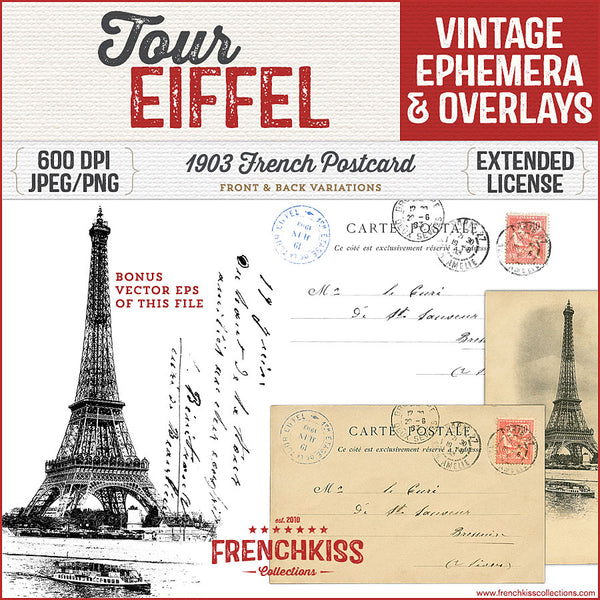 Front and back digital downloads of this 1903 French postcard of the Eiffel Tower.