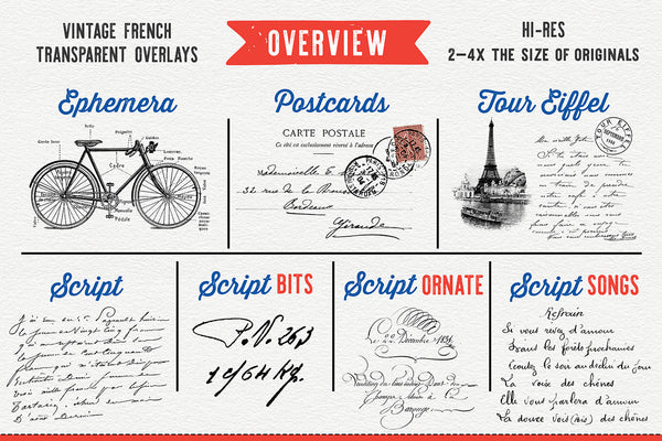 Examples showing The Essential Vintage French Graphics Collection used to enhance textured photographs.