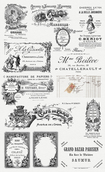 37 vintage postcard backs, postage and postmarks in The Essential Vintage French Graphics Collection.