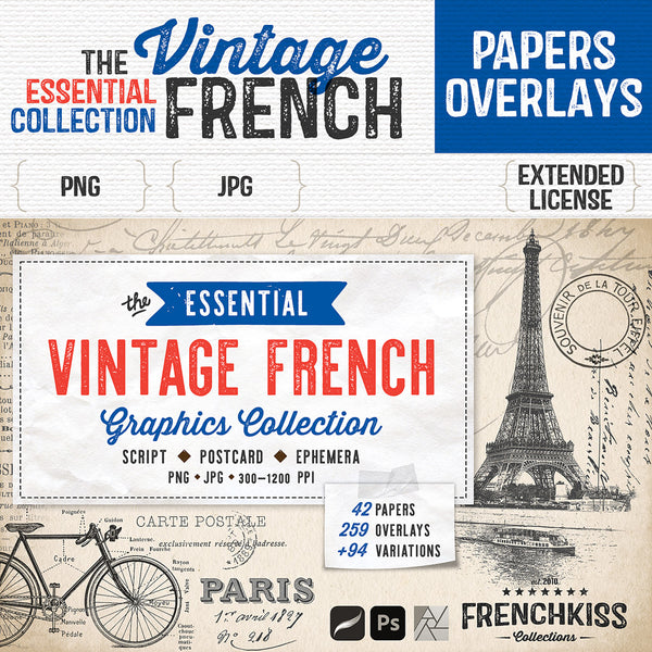 The Essential Vintage French Graphics Collection with 182 graphics from script to postcards.