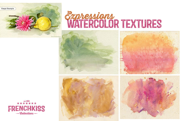 Expressions watercolor textures. Commercial use.