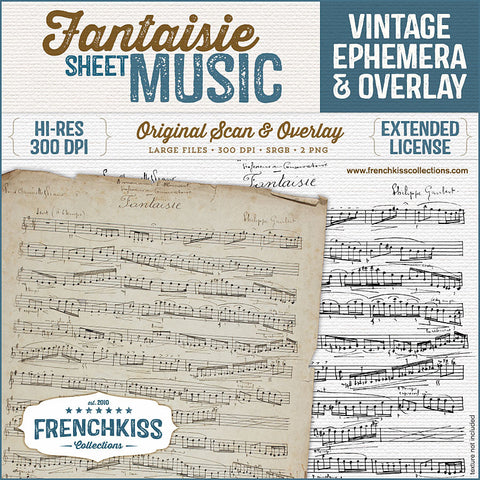 Fantaisie digital vintage French sheet music ephemera and overlay at French Kiss Collections.
