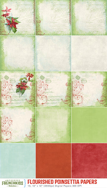 Flourished Poinsettia digital papers with versatile variations and coordinates..
