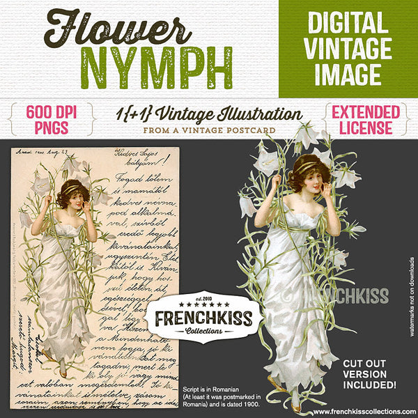 Flower Nymph Digital Vintage Postcard And Image at French Kiss Collections