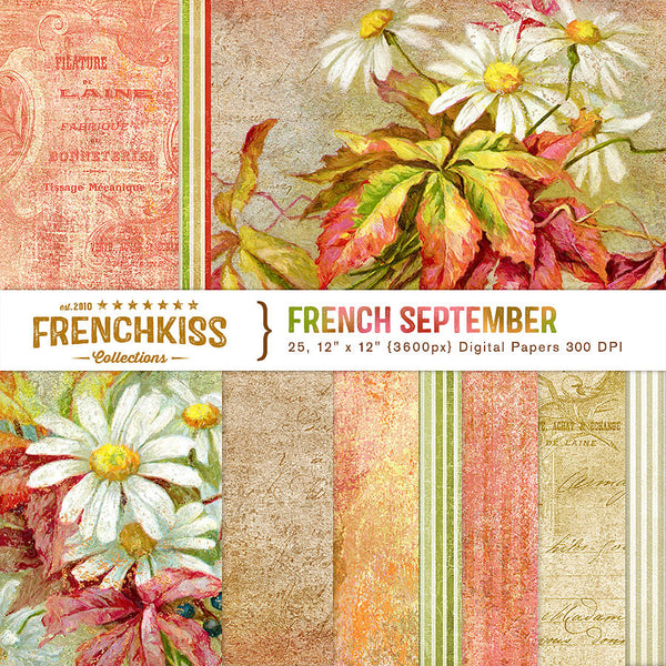 French Kiss French September digital papers