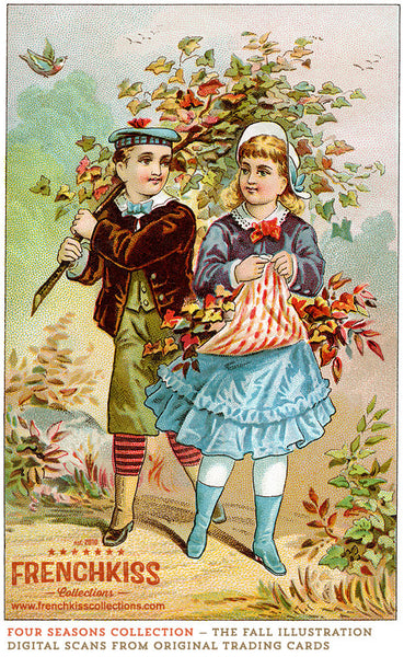 Four Seasons Victorian Trading Card Illustrations