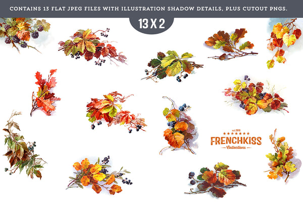 Fall Leaves and Berries vintage graphics JPEGs and PNGs.