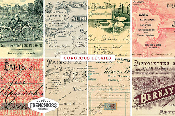 Gorgeous details from the vintage French receipts papers.