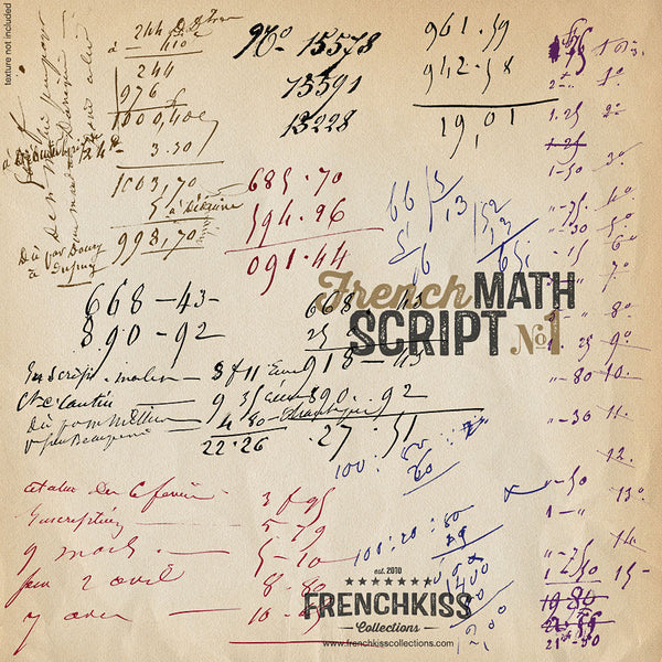 Frenck Kiss Vintage French Math Script digital overlays. ex1