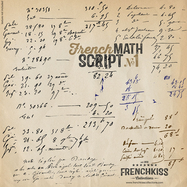 Frenck Kiss Vintage French Math Script digital overlays. ex2