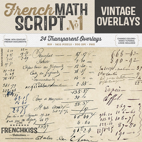 Frenck Kiss Vintage French Math Script digital overlays.