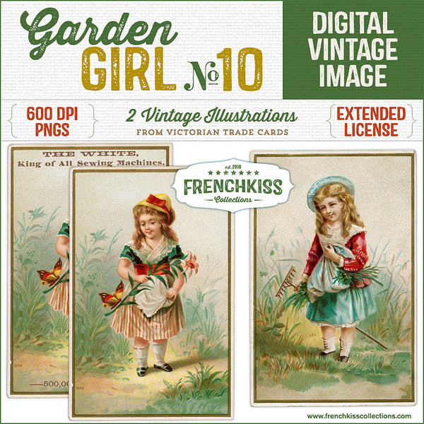 Two delightful Victorian trade card illustrations digital downloads of a girls in the garden.