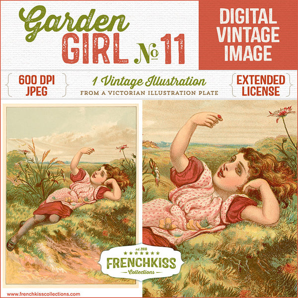 Delightful vintage illustration digital download of a girl laying in a meadow.