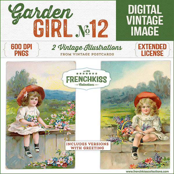 Sweet vintage illustrations from vintage postcards of girls holding flowers, sitting on a garden wall.