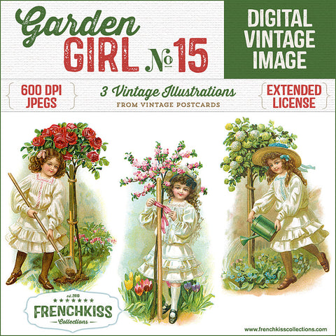 Set of 3 illustrations from vintage postcards of girls working in the garden next to little flowering trees.