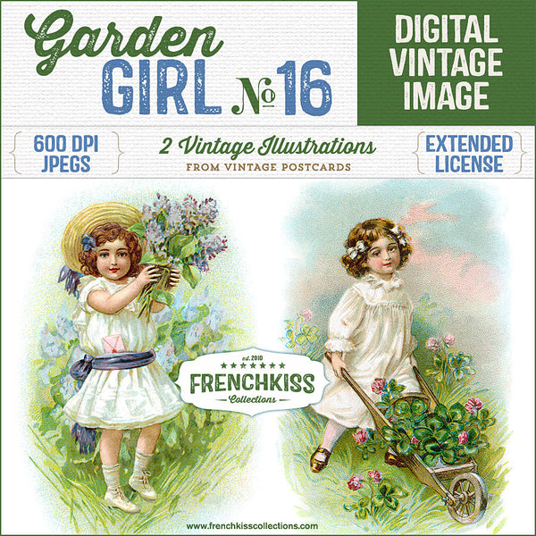 Two delightful illustrations from vintage postcards of girls in the garden. One girl holds up a bunch of lilac and the other pushes a wheelbarrow of clover.