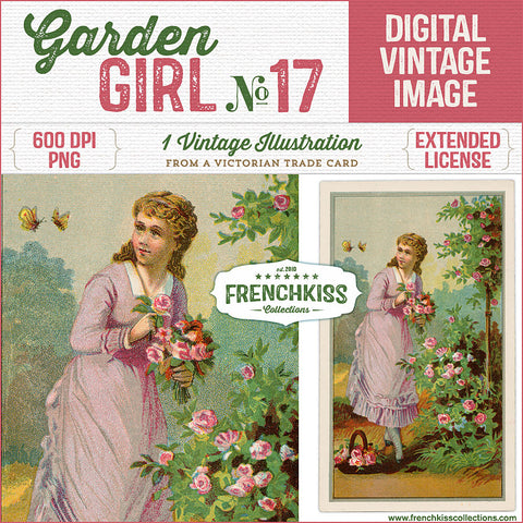 Lovely digital download illustration from a Victorian trade card of a girl in the garden with roses and butterflies.