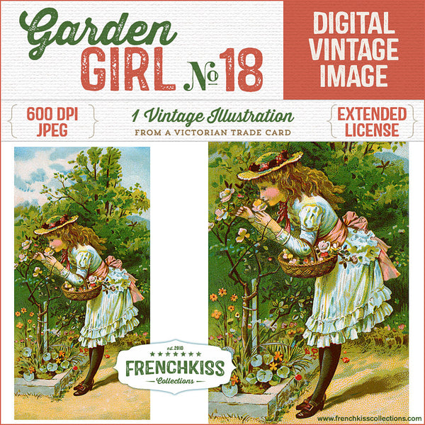 Lovely digital download illustration from a Victorian trade card of a girl in the garden enjoying the scent of a rose bush.