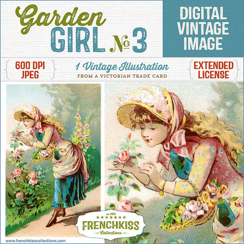 Lovely digital download illustration from a Victorian trade card of a girl picking roses in the garden.