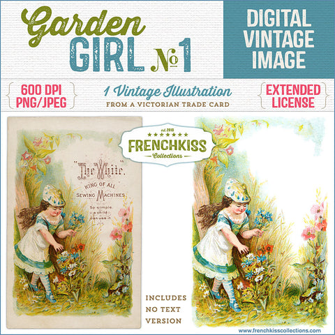 Digital download vintage illustration of a girl in a garden from a Victorian trade card.