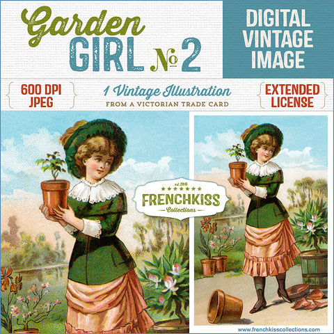 Digital download illustration from a Victorian trade card of a girl potting plants in the garden.