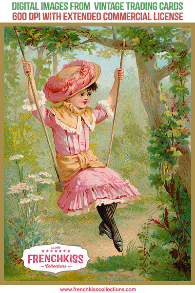 Girl on a swing digital vintage image from a trading card at French Kiss Collections.