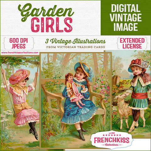 Garden Girls digital vintage images from trading cards at French Kiss Collections.