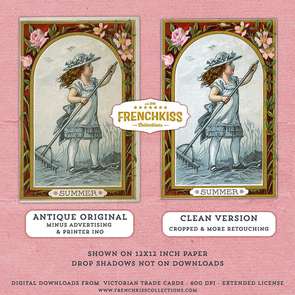 2 versions of each digital Victorian Trade card of girl in seasons.