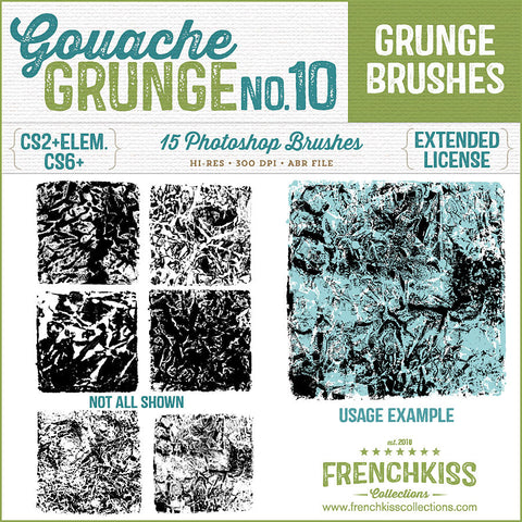 Rough square Photoshop grunge brushes made from applying gouache paint to onto crumpled paper.
