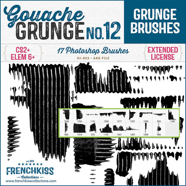 17 Photoshop grunge brushes made from a dragging gouache with a comb tool.