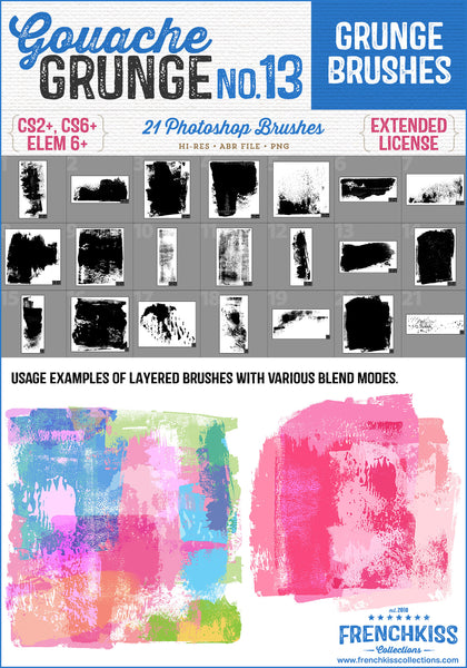 21 Photoshop brushes made from Gouache paint. Arty and grungy.