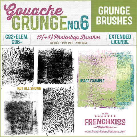 French Kiss Collections Gouache Grunge No. 6 Photoshop brushes.