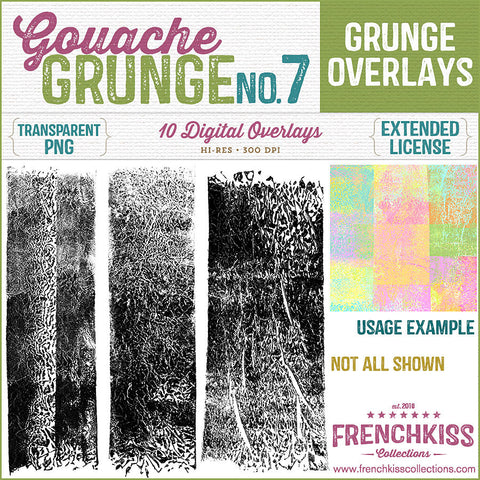Gouache Grunge No. 7 Overlays. Hi Res. Extended license.