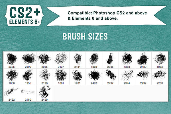 French Kiss Collections Gouache Grunge No. 5 Photoshop brush sizes..