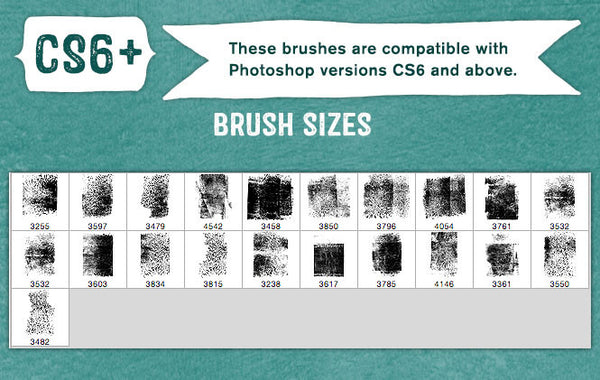 French Kiss Collections Gouache Grunge No. 6 Photoshop brush sizes..