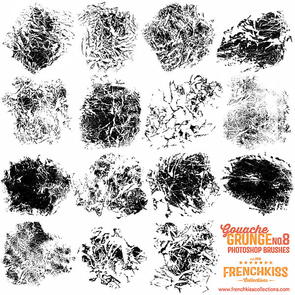 All brushes in the Gouache Grunge No 8 Photoshop brush set.
