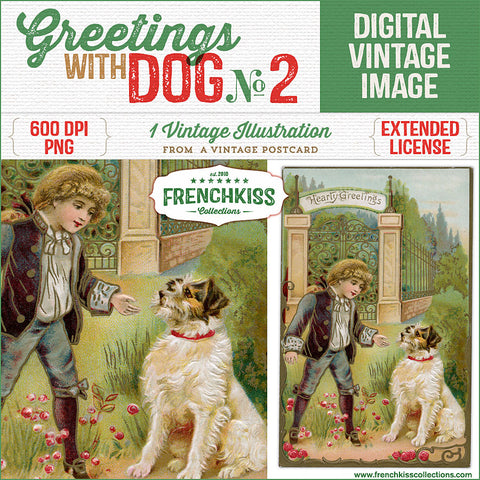 Greetings With Dog Vintage Postcard Digital Illustration No. 2.