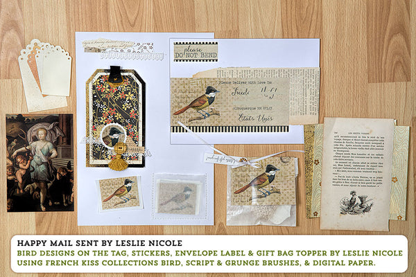 Happy mail by Leslie Nicole using vintage birds from French Kiss Collections.