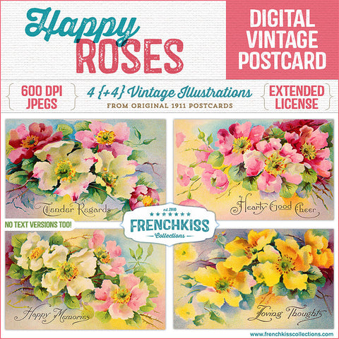 French Kiss Collections Happy Roses vintage postcards digital download