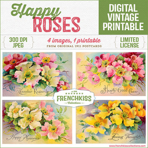 French Kiss Collections Happy Roses Vintage Postcard Printable Collage Sheet